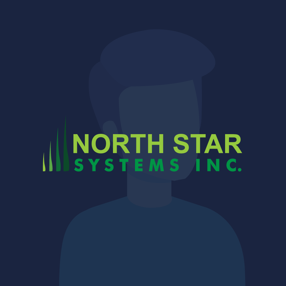 North Star Systems logo on background with blue background